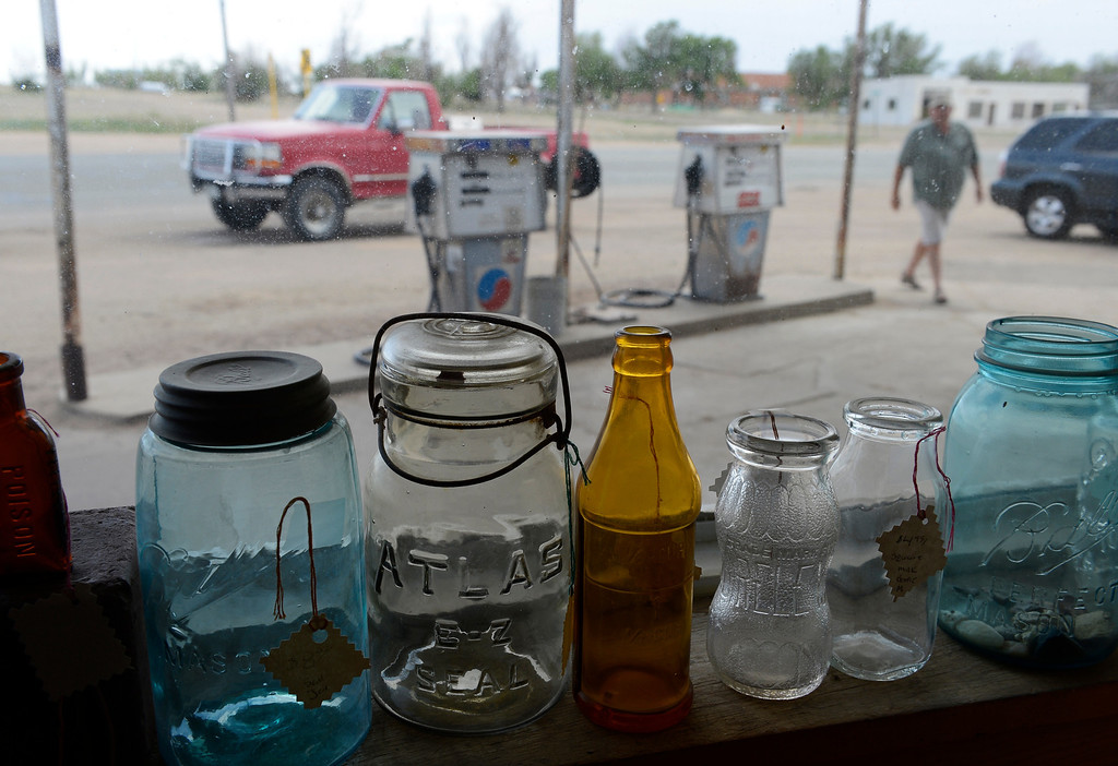 . HASWELL, CO - MAY 29:  Old glass bottles grace a window sill inside of the Haswell Propane and Fuel store, a town gathering place in Haswell Colorado, Wednesday May 29, 2013. The Intel Corporation, an American multi-national semiconductor computer chip maker, has codenamed their latest and greatest new chip after the small town of Haswell. The store is not only gathering place, but also serves as a connivence store and a antiques shop.  (Photo By Andy Cross/The Denver Post)