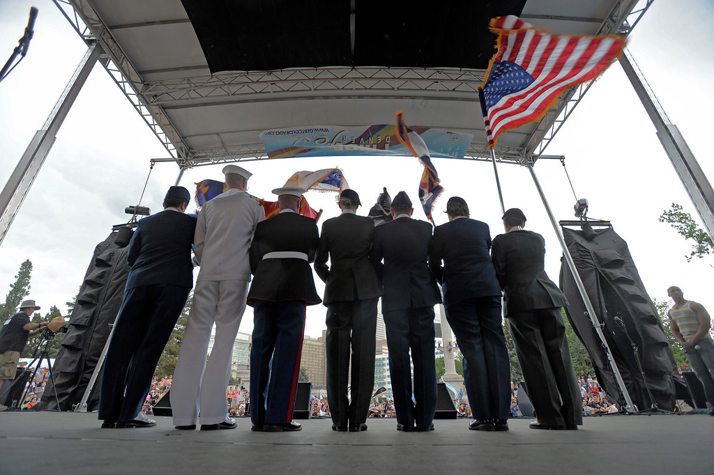 . DENVER, CO. - JUNE 16:  The color guard stands on stage to present the colors during the national anthem at the Civic Center Park June 16, 2013. The color guard this year will include gay vets and active service men and women -- wouldn\'t have happened five years ago. (Photo By John Leyba/The Denver Post)