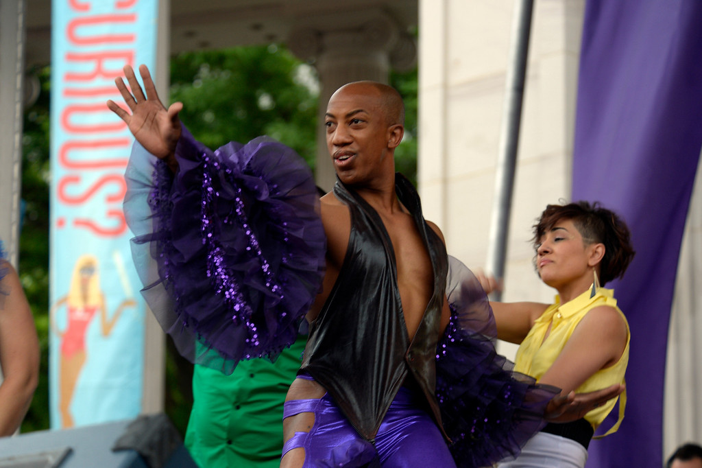. DENVER, CO. - JUNE 16: Demarcio Slaughter entertains the crowd gathered at the main stage at Civic Center during Pridefest downtown Denver June 16, 2013. The color guard this year will include gay vets and active service men and women -- wouldn\'t have happened five years ago. (Photo By John Leyba/The Denver Post)