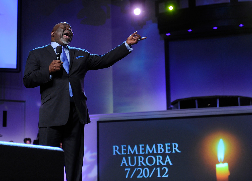 . DENVER, CO. - JULY 17:  Bishop TD Jakes preached at the Potters House church of Denver, 9495 E. Florida Avenue in Denver, Wednesday evening, July 17, 2013.  He counseled the congregation that God gives them the strength to continue. Photo By Karl Gehring/The Denver Post