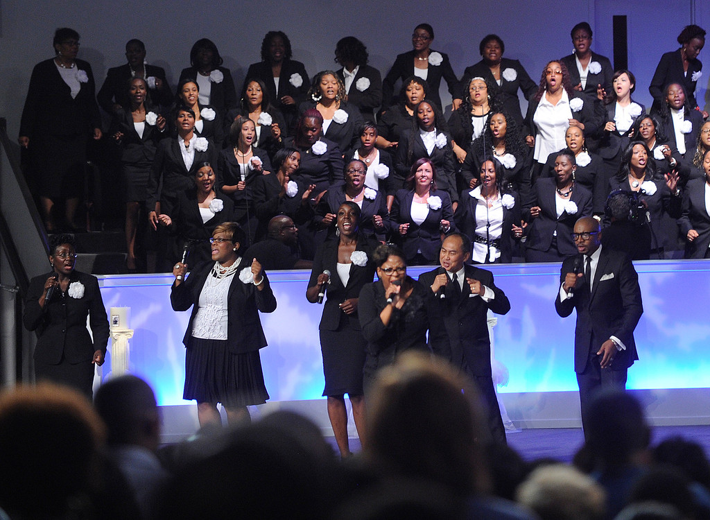 . DENVER, CO. - JULY 17:  The choir began the service with songs of worship Wednesday night. Bishop TD Jakes preached at the Potters House Church of Denver, 9495 E. Florida Avenue in Denver, Wednesday evening, July 17, 2013.   Photo By Karl Gehring/The Denver Post