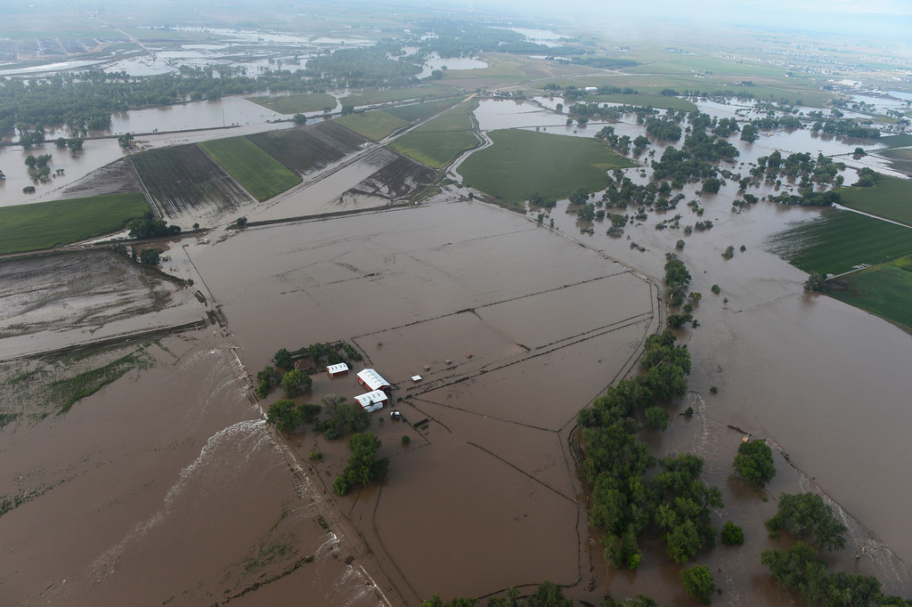 . Flooded land in Weld County Colorado Saturday morning, September 14, 2103. (Photo By Andy Cross/The Denver Post)
