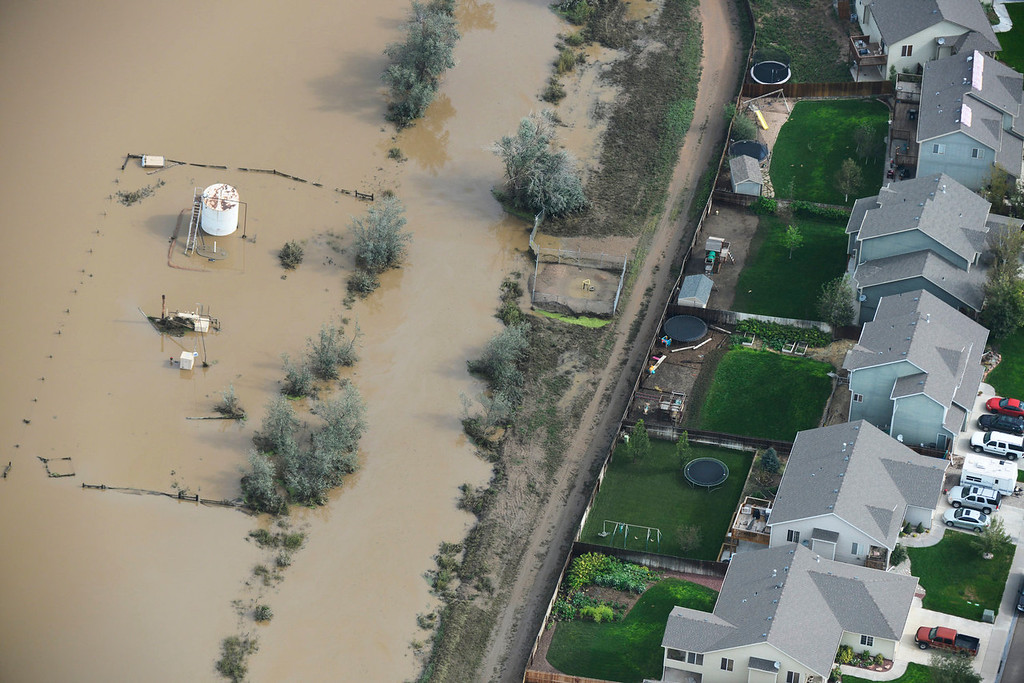 . Flooded land in Weld County, Colorado Saturday morning, September 14, 2103. (Photo By Andy Cross/The Denver Post)