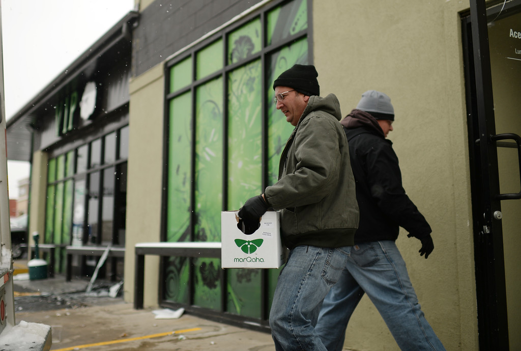 . Officers are investigating VIP Cannabis at 2949 West Alameda Avenue in Denver, Colorado November 21, 2013.  (Photo by Hyoung Chang/The Denver Post)