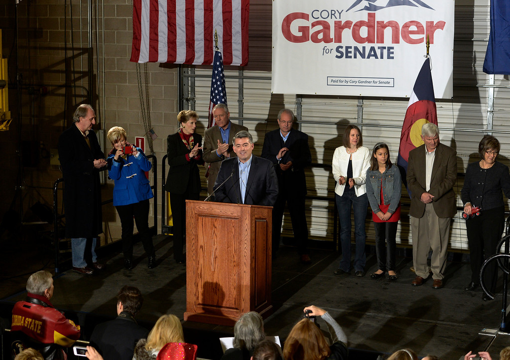 . In front of a small crowd of supporters, Rep. Cory Gardner (CO-4) formally announces his candidacy for U.S. Senate at the Denver Lumber Co. on Saturday, Mar. 1, 2014. (Photo by Kathryn Scott Osler/The Denver Post)