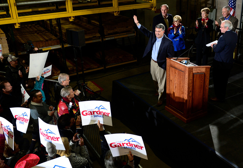 . In front of a crowd of supporters, Rep. Cory Gardner (CO-4) formally announces his candidacy for U.S. Senate at the Denver Lumber Co. on Saturday, Mar. 1, 2014. (Photo by Kathryn Scott Osler/The Denver Post)