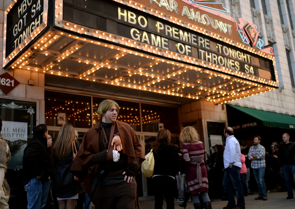 . People are in the line of HBO\'s Game of Thrones premium show at Paramount Theatre Denver. Denver, Colorado. March 27. 2014.  (Photo by Hyoung Chang/The Denver Post)