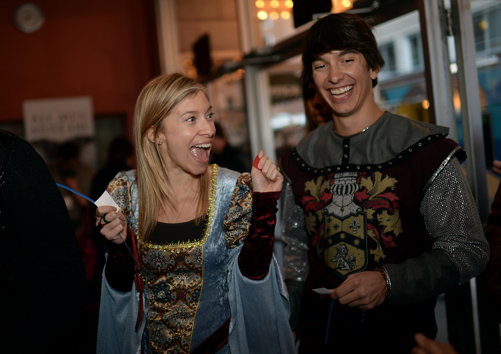 . Sarah Finley, left, and Taylor Widmann of Denver are in Paramount Theater Denver for HBO\'s Game of Thrones premium show. Denver, Colorado. March 27. 2014. (Photo by Hyoung Chang/The Denver Post)