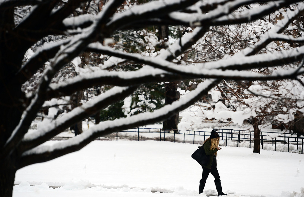 . University of Colorado students across cross the Quad on the CU campus after a spring snowstorm brought heavy wet snow to Boulder, Co on April 3, 2014.   (Photo By Helen H. Richardson/ The Denver Post)