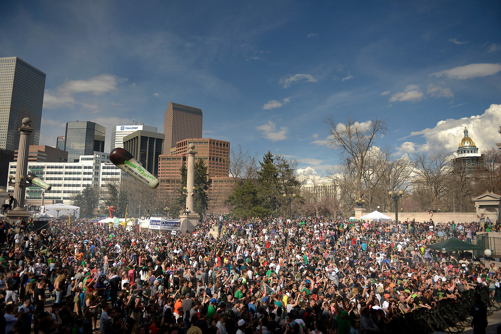 . A crowd gathers for the smoke out at the 420 celebration at the Denver 420 Rally in Civic Center Park April 20, 2014 Denver, CO (Photo By Joe Amon/The Denver Post)