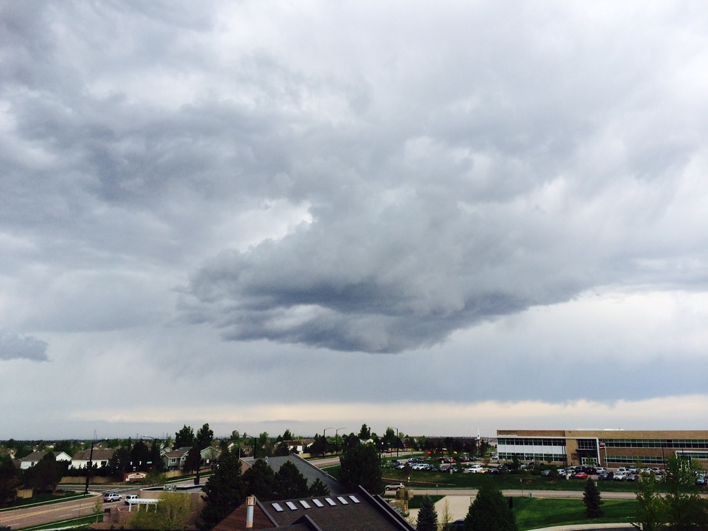 . Ominous clouds, Warning sirens going off in Aurora Thursday, May 22, 2014. (Steve Nehf, The Denver Post)