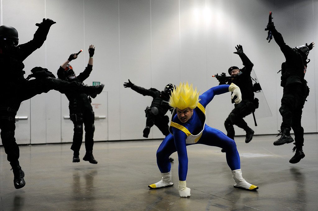 . Brandon Ahlberg of Thornton dressed as Vegeta from Dragon Ball Z poses for a photo during Denver Comic Con at the Colorado Convention Center in Denver, Colorado on June 14, 2014. (Photo by Seth McConnell/The Denver Post)