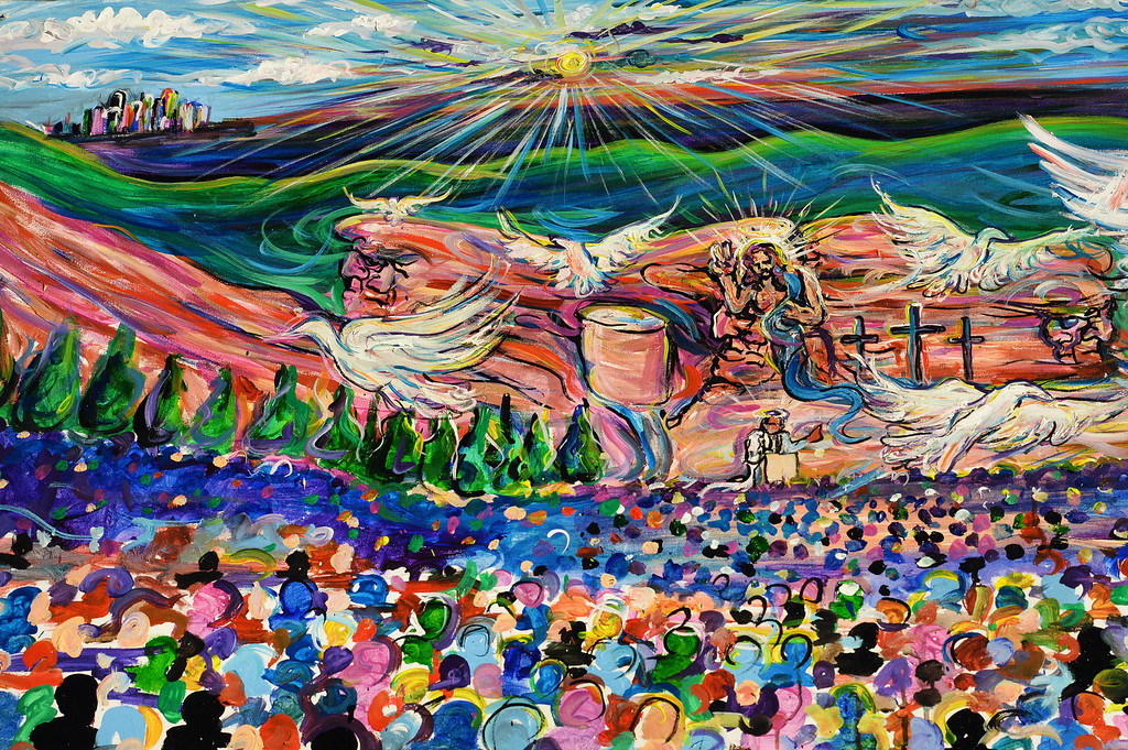 . Perennial favorite artist Scramble Campbell painted this  amazing oil painting during the 67th annual Easter sunrise service was held at Red Rocks Amphitheater in Morrison, Colorado, on April 17, 2014. The popular annual event, which hosts thousands of worshipers, is sponsored by the Colorado Council of Churches. Campbell, who starts and finishes his paintings during the service, paints the sunrise service every year.  (Photo By Helen H. Richardson/ The Denver Post)