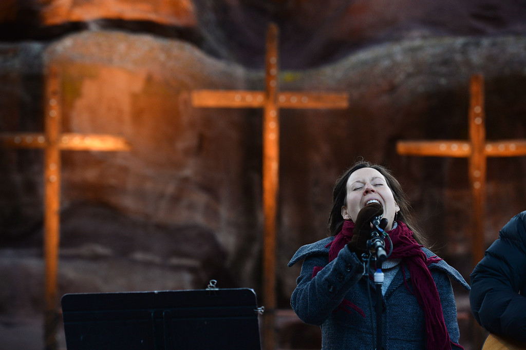 ". Vocalist Rebecca Gale, accompanied by acoustic guitarist Jeff Wahl, performs during  the 67th annual Easter sunrise service  at Red Rocks Amphitheater in Morrison, Colorado, on April 17, 2014.  Superintendent Patrick L. Demmer gave the sermon which was entitled ""What are you looking for?\"".  The popular annual event, which hosts thousands of worshipers, is sponsored by the Colorado Council of Churches.  (Photo By Helen H. Richardson/ The Denver Post)"