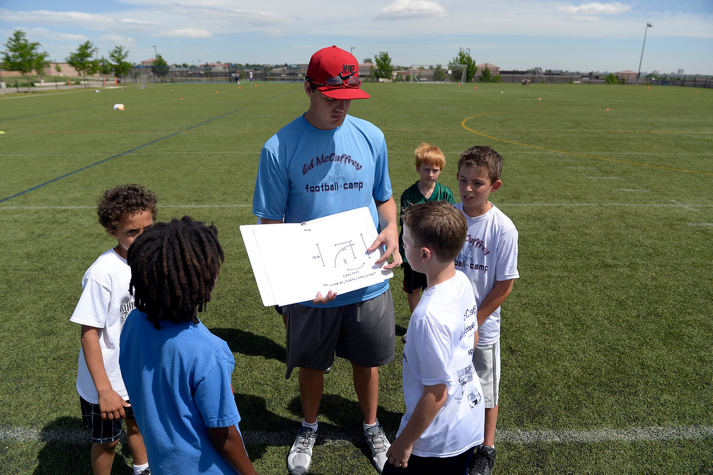 ". Miami Dolphins quarterback Aaron Corp out plays to his team during seven-on-seven at The Ed McCaffrey ""Open\"" Football Camp June 25, 2013 at Valor High School. Former Broncos star receiver Ed McCaffrey and other former pro football players conduct a football camp for kids ages 8-15 at Valor Christian High School.  (Photo By John Leyba/The Denver Post)"