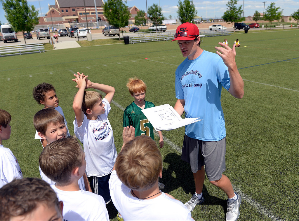 ". Miami Dolphins quarterback Aaron Corp out plays to his team during seven-on-seven at The Ed McCaffrey ""Open\"" Football Camp June 25, 2013 at Valor High School.   (Photo By John Leyba/The Denver Post)"