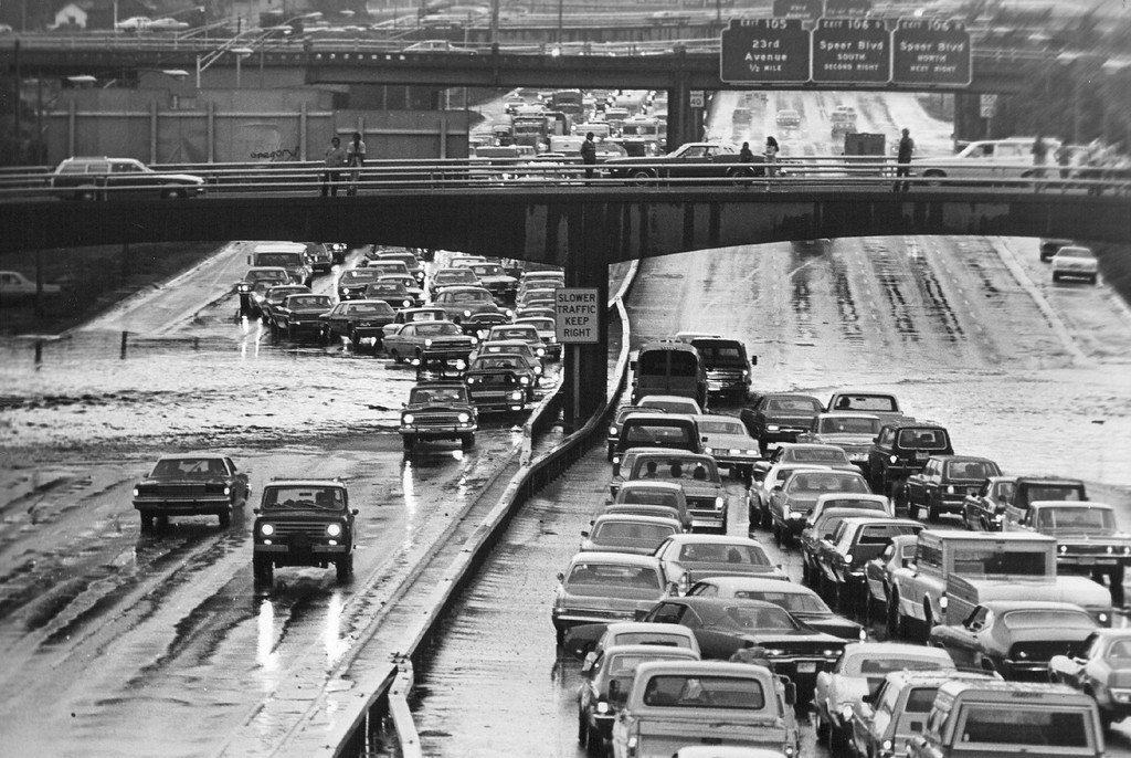 . JUL 20 1975  Traffic is tied up under 19th street viaduct as motorists avoid deep water on the interstate. Denver police closed highway at W. 38th Avenue between 3 and 4 p.m., and several viaducts were reported flooded.  (Ernie Leyba/ The Denver Post)