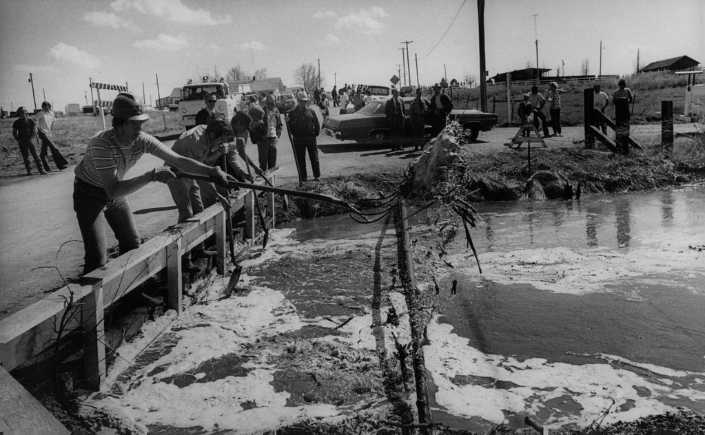 . APR 13 1973  VOLUNTEERS USE PITCHFORKS TO CLEAR DEBRIS FROM IRRIGATION DITCH OUTSIDE KERSEY By removing the debris-mostly straw-they allowed water in the swollen ditch to pass under the bridge.   (Dave Buresh/The Denver Post)
