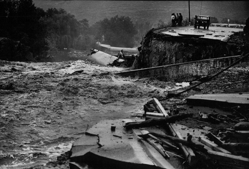 . AUG 2 1976 - Where it was ripped apart by waters of the flooded big Thompson river. (Steve Larson/ The Denver Post)