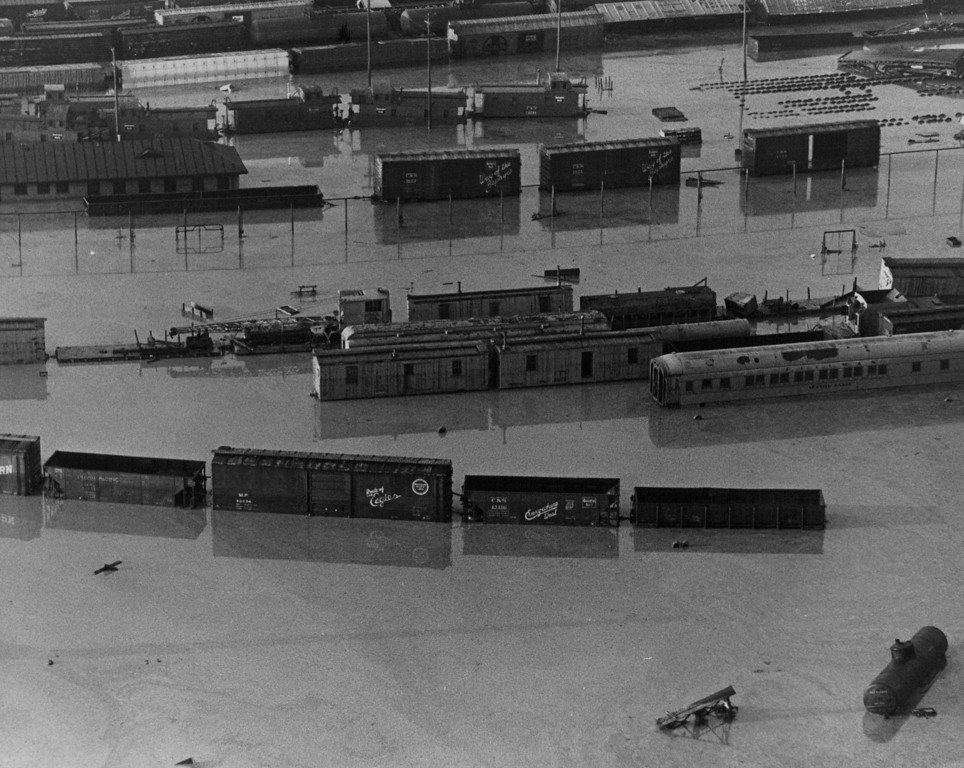 . JUN 17 1965  Floods - Denver. Railroad Yard.  (Ed Maker/ The Denver Post)