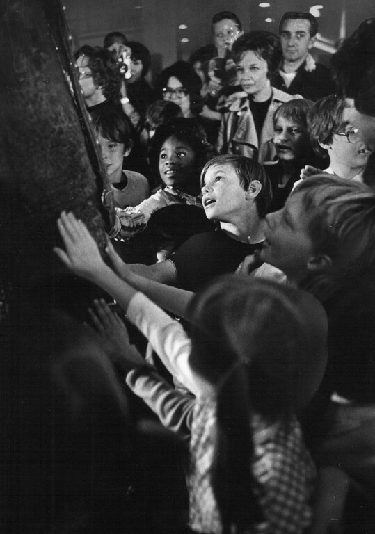 . OCT 12 1977 - A group of hearing impaired & sight impaired youngsters were fascinated when introduced to an elephant just prior to marine circus performance Wednesday. (John Sunderland/The Denver Post)
