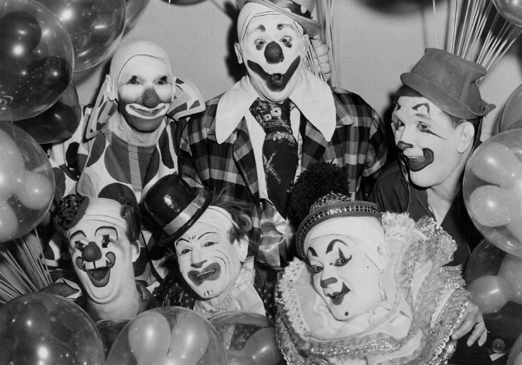 . JUL 2 1961 - Misdirected Mimics - This group of Ringling clowns illustrates the individual makeups, retained throughout their careers. Never is a makeup infringed on by others. Top, left to right, Gene Lewis, Paul Jung and Dennis Stevens. Below, left to right, Chuck Burnes Harry Nelson and Albert White. (Denver Post digital archive photo)