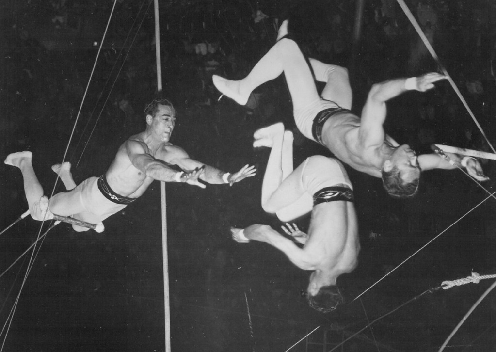 ". JUL 23 1961 - Those Daring Young Men - Here the Flying Comets, one of two expert flying trapeze troupes with Ringling Bros and Barnum & Bailey Circus, execute the ""passing leap\"". The catcher, right, is about to grasp the wrists of the top flyer after having just released the flyer at the left, who is returning to the \""swing bar.\"" (Denver Post digital archive photo)"