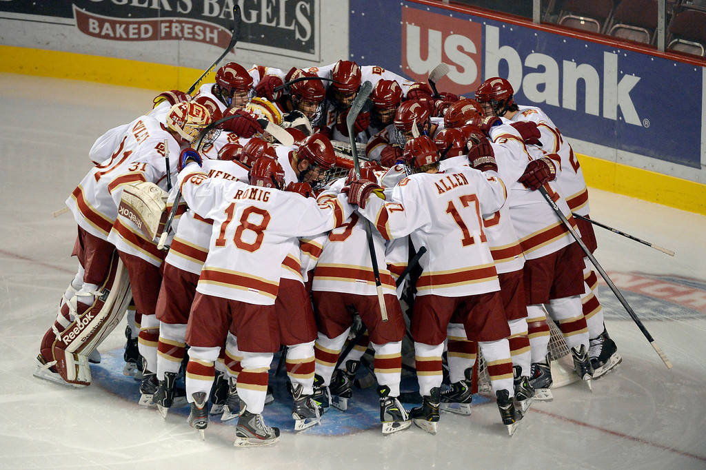 . Denver Pioneers get ready for their game against University of New Brunswick October 6, 2013 at Magness Arena. (Photo by John Leyba/The Denver Post)