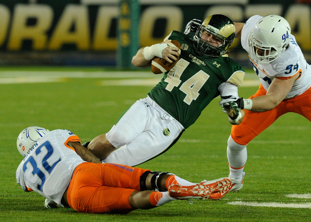 . FORT COLLINS, CO. - NOVEMBER 2: CSU tight end Joe McKay (44) was stopped short of a first down on a fake punt in the third quarter. The Colorado State University football team fell to Boise State 42-30 Saturday night, November 2, 2013. Photo By Karl Gehring/The Denver Post