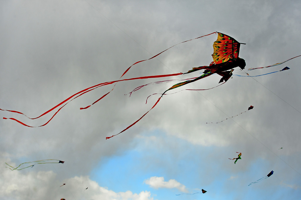 . Dozens of kites take flight in the gusty winds during the 12th annual Arvada Kite Festival held at the Stenger soccer complex in Arvada, Colorado, on April 6, 2014.  Hundreds of people braved cold temperatures , some rain and gusty winds to fly their kites  of all different sizes, shapes, and colors.  Activities included kite making classes and competitions for highest kite, smallest kite, largest kite and most visually appealing kite.  (Photo By Helen H. Richardson/ The Denver Post)