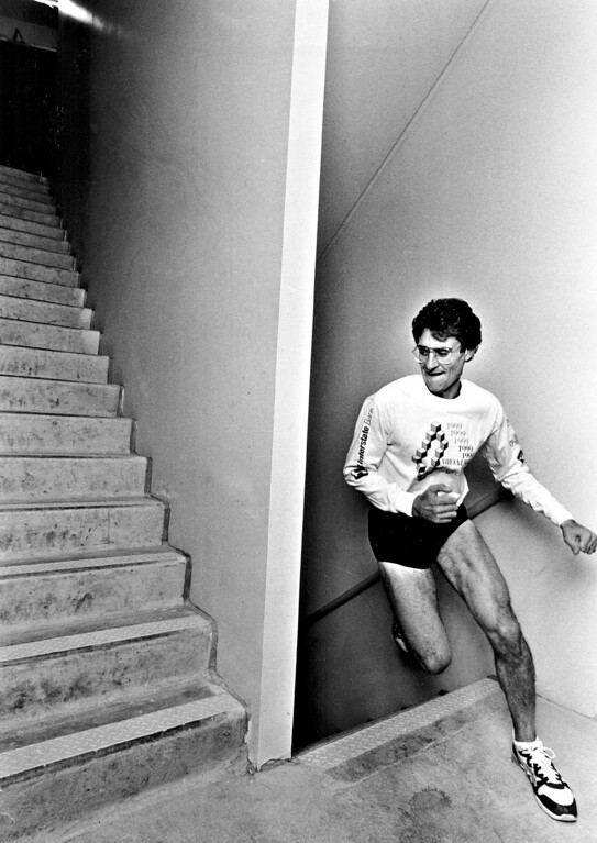 . OCT 20 1987.  Andy Dunn, a runner who will be in Denver\'\'s first competitive stair climb.   (Photo by Jay Dickman/The Denver Post)