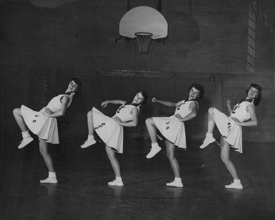 . MAR 10 1954  Here are the four girls that pepped things up during the past season when Craig\'s basketball team was in action. They are (left to right) Jo Ann Deyo, Dorothy Ayers, Joann Lee and Meta Wilson.  Credit: Denver Post