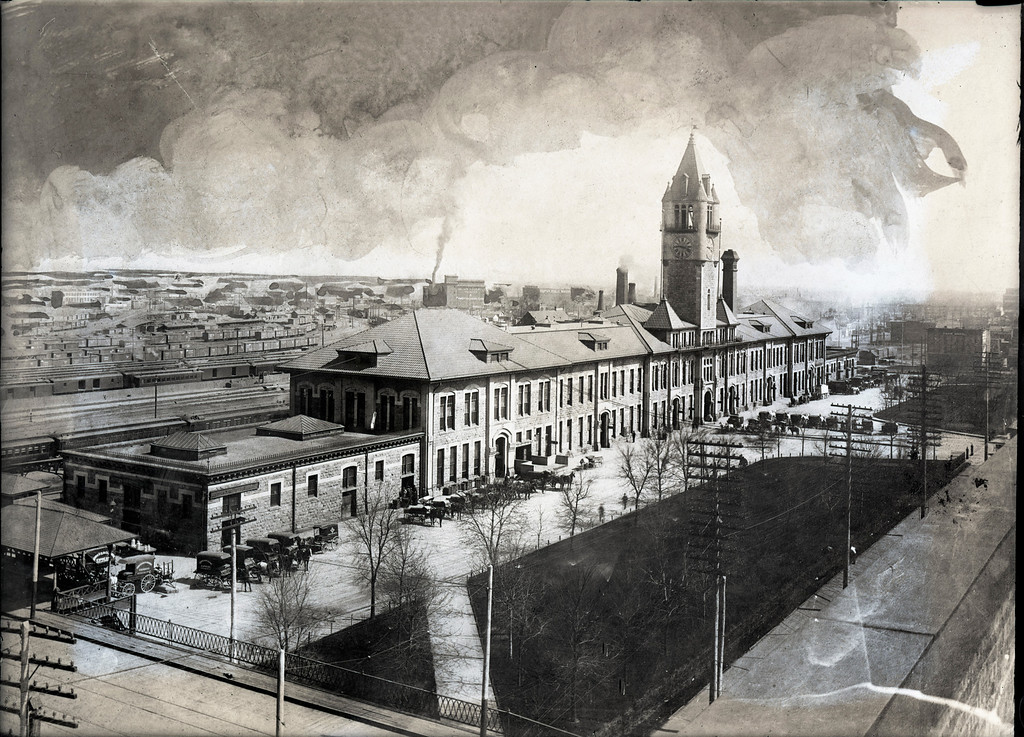 . Union Station in Denver, 1890\'s. Scan from glass plate. The Denver Post Library Archive.