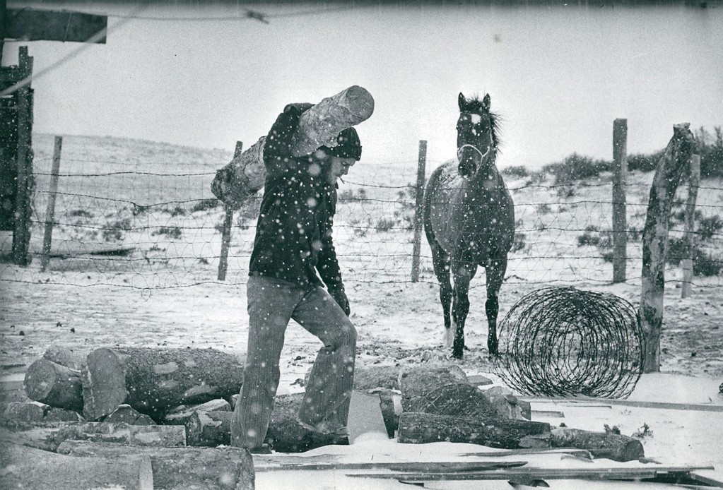 . NOV 10 1977 - Ted Shrout carries wood outside his home in Barrel Springs Ranch, Wyoming. (John J. Sunderland/The Denver Post)