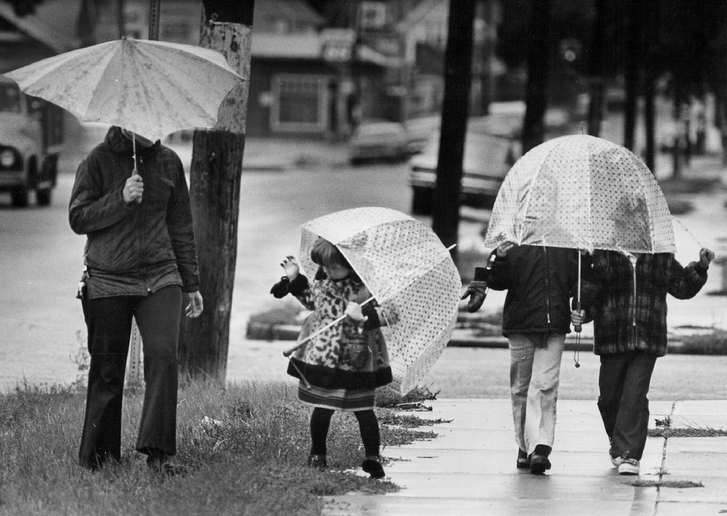 . SEP 22 1976 - Raindrops aren\'t falling on their heads These youngsters get a bit of supervision as they enjoy a Sunday walk in rain near W. 44th Ave. and Wyandot St.  Frost was due to follow storm into parts of state. (Photo by Ernie Leyba/The Denver Post)