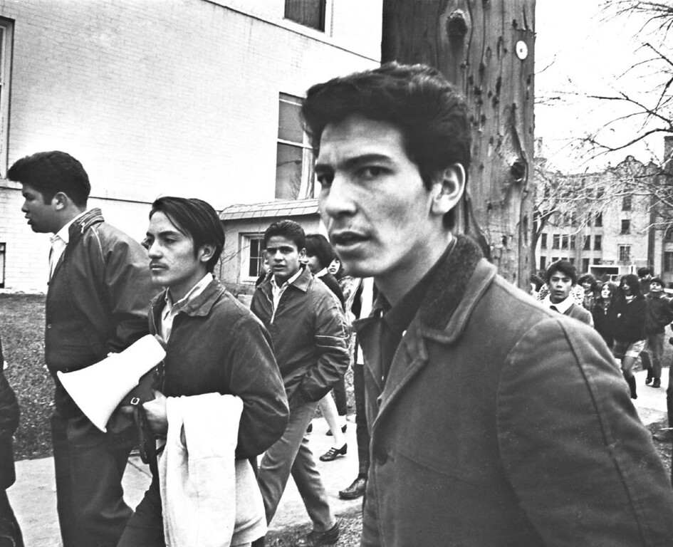 . MAR 24 1969.  Archie LaForette, fiery young leader of West High School militant students, foreground, stressed a peaceful approach to demonstration Monday as he led about 120 youthful pickets in a march across Denver from West High to Crusade for justice headquarters, E. 16th Ave. and Downing St.   (Duane Howell/Denver Post)