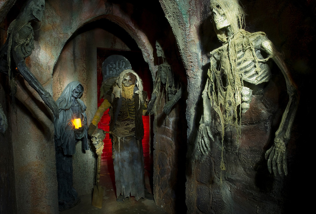 """. At the 13th Floor Haunted House in Denver, 4120 Brighton Blvd.  on Wednesday, October 9, 2013. There are various characters on hand to scare the visitors including the \"""" The Grave Digger\""""  in the gothic hallway.   (Photo By Cyrus McCrimmon/ The Denver Post )"""