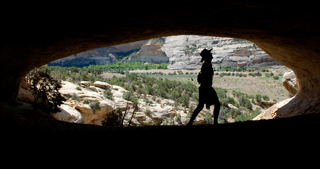 . Darin Hunt, 38, lead guide of Adventure Bound River in the Yampa Canyon Sand Caves near harding hole point. Pre-Columbian Indians of Fremont Culture lived in the cave. (Photo by Hyoung Chang/The Denver Post)