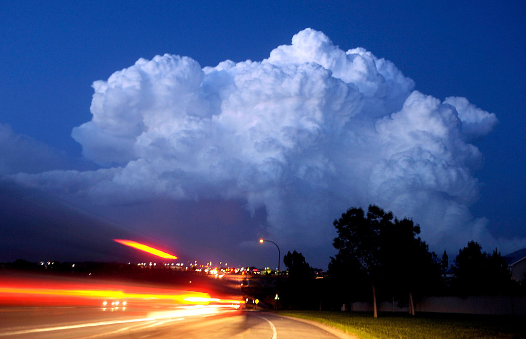 . Big thunder head clouds moving east packing rain and hail builds up as seen from Highlands Ranch, Colorado on Monday, June 2, 2008. (Photo by John Leyba/The Denver Post)