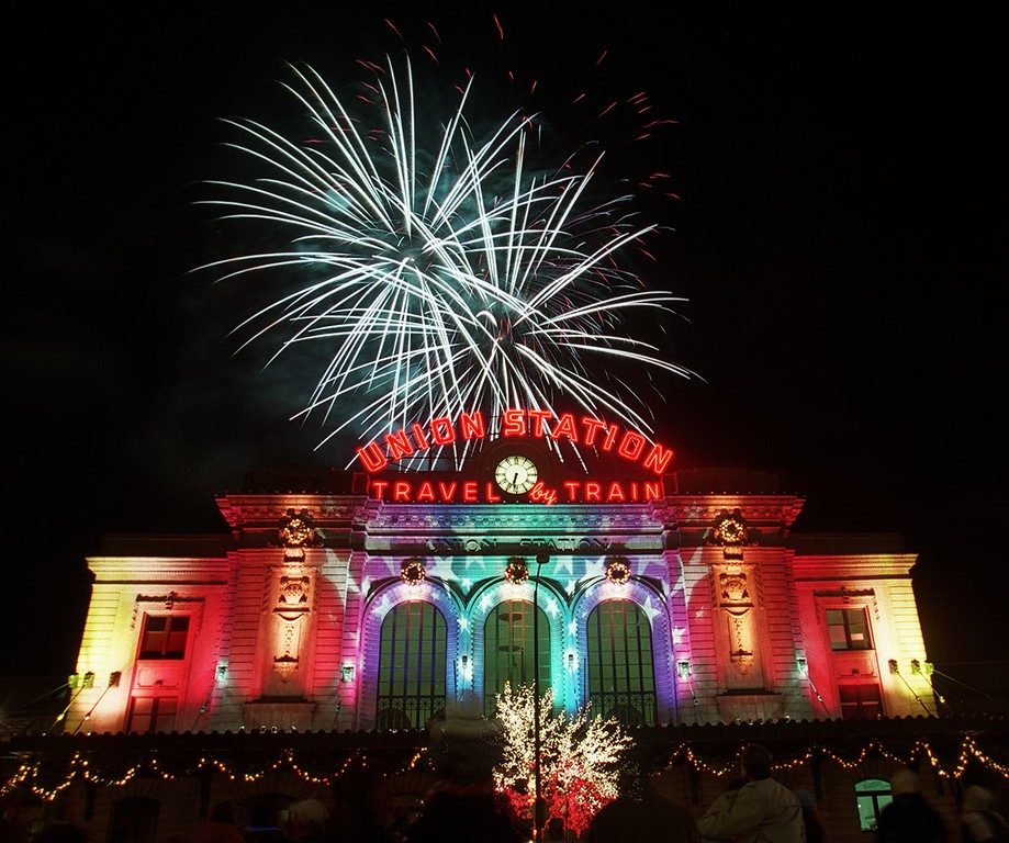 . People celeblate the Holiday lighting and fireworks at  Union Station on Wednesday, November 5, 2013. (Photo by Hyoung Chang/The Denver Post)