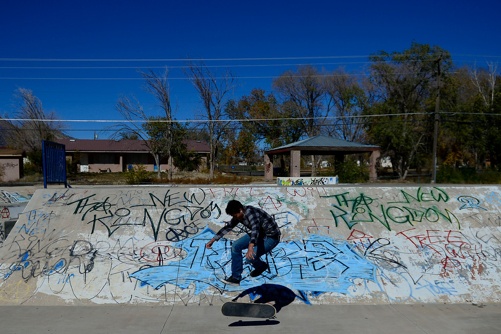 . Andrew Woody, 18, skates at the Towaoc skate park, while waiting for his grandmother to finish at a seminar on the reservation.  (Photo by AAron Ontiveroz/The Denver Post)
