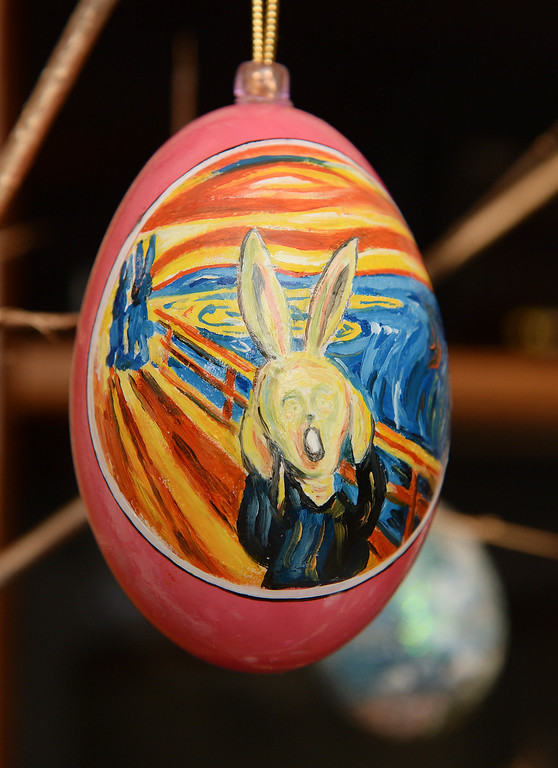 . This screaming bunny recalls the painting by Norwegian artist Edvard Munch. Dave Thayer paints a handful of easter eggs each year and adds them to his tree of eggs he puts up in his living room every year. Thayer showed off his artwork to the Denver Post Wednesday, April 2, 2014 at his home in Denver. (Photo by Karl Gehring/The Denver Post)