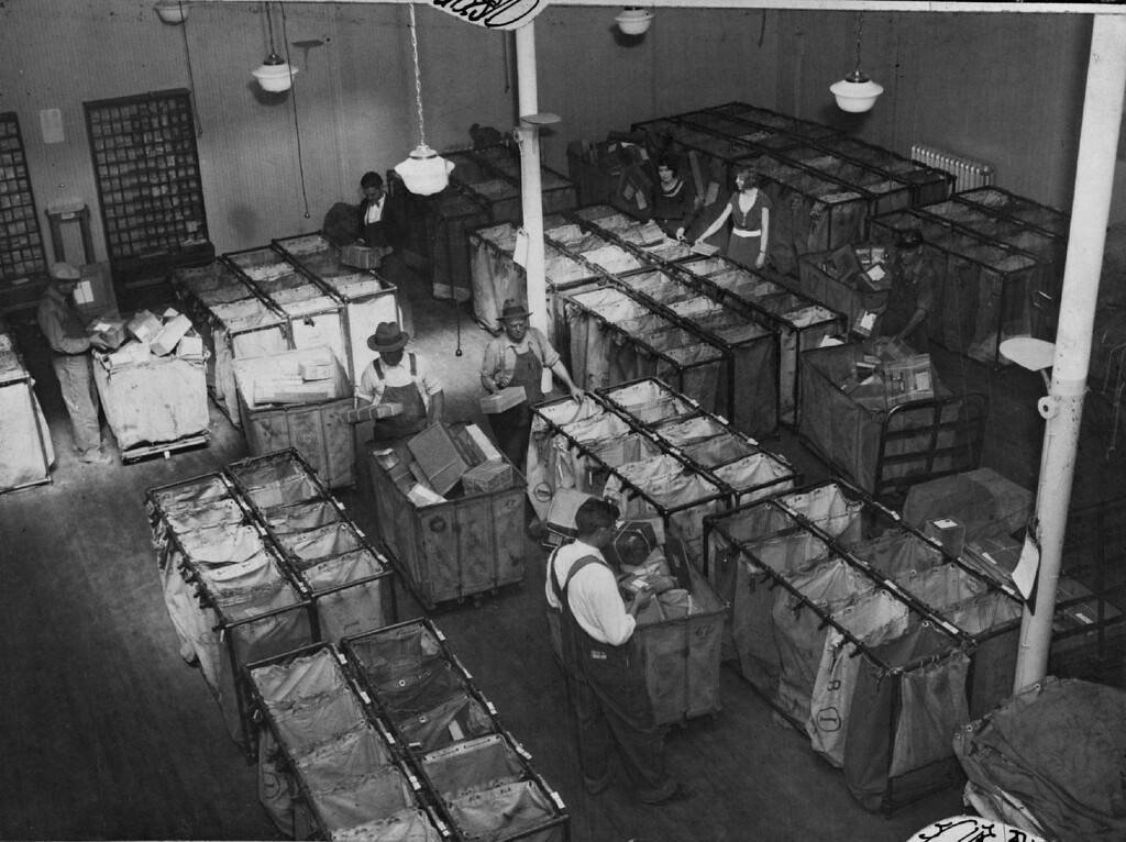 . Interior view of the Annex to Denver\'s Union Station Post Office in 1931.  (The Denver Post Library Archive)