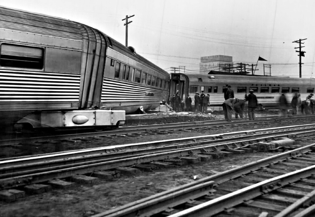 . Cars, at the rear of the Burlington Railroad\'s New Denver Zephyr were derailed when the streamlined train was struck in the union station yards by a heavy mountain - climbing locomotive pulling a Denver and Rio Grande Western train in 1936.  (The Denver Post Library Archive)