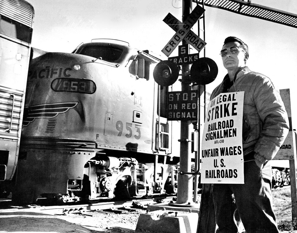 . Railroad signalman Ken Persichetti was at Denver\'s Union Station Monday morning to picket.  (Photo by Duane Howell/The Denver Post)