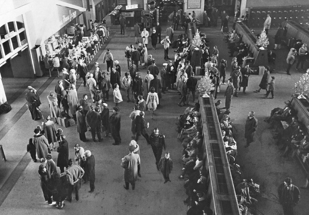 . Rail facilities were strained to capacity as this picture at Denver\'s Union Station testifies after holidays were coming to an end on January 2, 1064.  (Photo by Cloyd Teter /TheDenver Post)