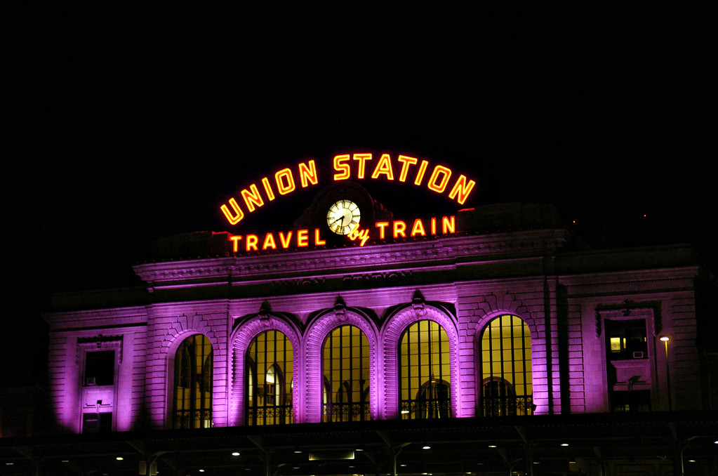 . Union Station in downtown Denver on Wednesday, Oct. 24, 2007 is lit in Rockies purple for the World Series.  (Photo by Kathryn Scott Osler/The Denver Post)