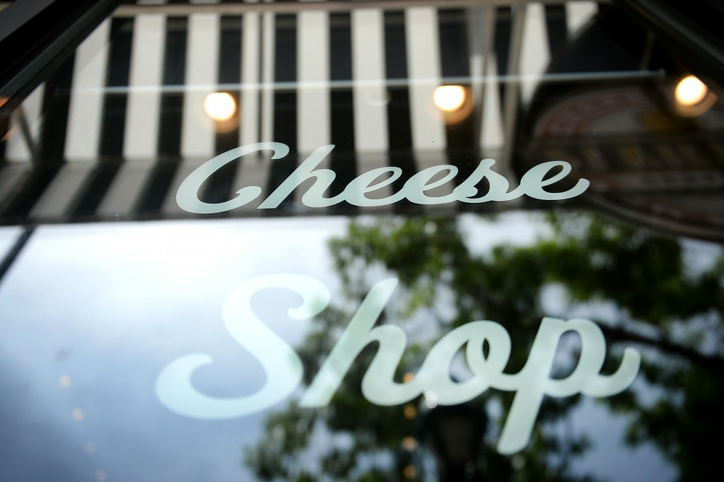 . The front window of St. Kilian\'s Cheese Shop and Market in Denver, CO on June 15, 2014.   Jon Marsh and partner Veronica Martinez are the owners of St. Kilians Cheese Shop and Market which specializes in gourmet and international cheeses as well as meats and sausages. (Photo By Helen H. Richardson/ The Denver Post)