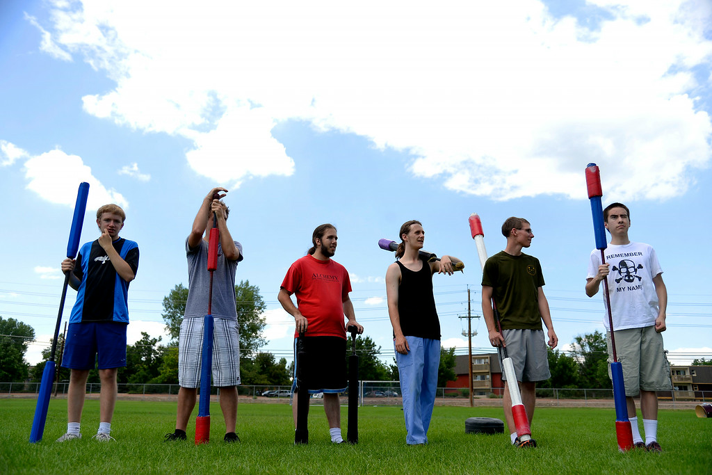 . Players line up as captains pick teams before an exhibition game. The Colorado Jugger League exhibition and barbecue on Sunday, July 13, 2014. (Photo by AAron Ontiveroz/The Denver Post)