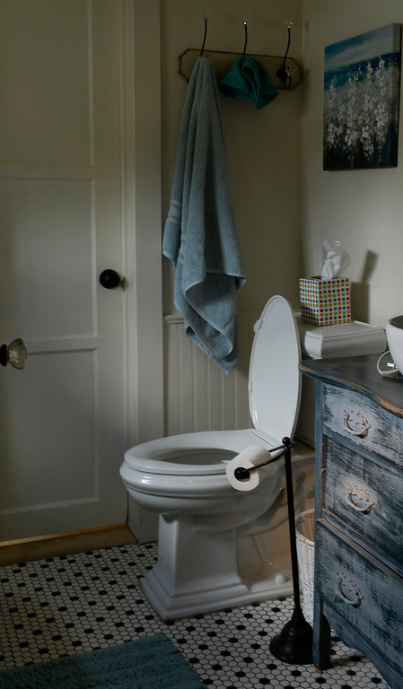 """. The bathroom in Cathy McNamara\'s refurbished miner\'s cabin in Georgetown, Colo. It was built in the 1870s and will be on the upcoming Georgetown home tour \""""Brides, Bells and Barons\"""" on July 26th.  (Denver Post Photo by Cyrus McCrimmon)"""